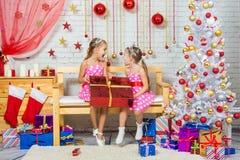 Menina alegre que deu um grandes presente e grito em se Imagem de Stock