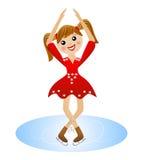 A menina alegre vai para uma movimentação no vestido bonito no patim Fotos de Stock Royalty Free