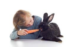 A menina alimenta o coelho do animal de estimação Fotos de Stock Royalty Free