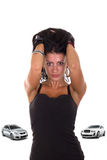 A menina ama carros caros fotografia de stock