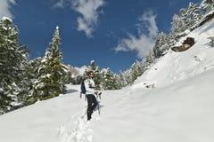 A menina ama a neve que escala nas dolomites Imagens de Stock Royalty Free