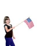 Menina americana com bandeira Imagens de Stock Royalty Free
