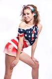Menina americana consideravelmente feliz no branco Fotos de Stock Royalty Free