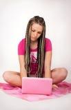 Menina & caderno Fotos de Stock Royalty Free