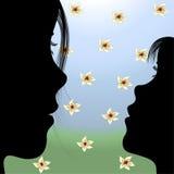 Menina & flores do Mum no país ilustração do vetor