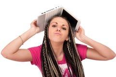 Menina & netbook Imagens de Stock
