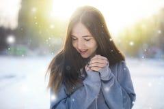 A menina anda abaixo da rua no inverno fotos de stock royalty free