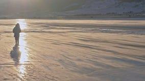 A menina anda no gelo Criança no gelo em um blizzard A neve está voando sobre a superfície do gelo Os flocos de neve voam no gelo video estoque
