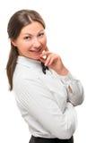 Menina 30 anos velha em uma camisa branca Imagens de Stock