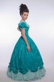 Menina antiquado no vestido ciano imagem de stock