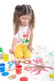 A menina aprende escrever Fotos de Stock Royalty Free