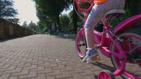 A menina aprende montar a bicicleta cor-de-rosa no trajeto da bicicleta video estoque