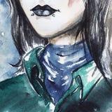 Menina arrepiante gótico com bordos pretos e o retrato piercing Imagens de Stock