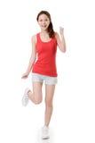 Menina asiática alegre do esporte imagens de stock