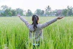 A menina asiática aprecia seu tempo de manhã fresco grren dentro o campo do arroz Imagens de Stock