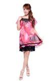 Menina asiática bonita do modelo de forma no vestido moderno Foto de Stock Royalty Free