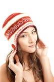 Menina asiática bonita no chapéu do inverno Foto de Stock