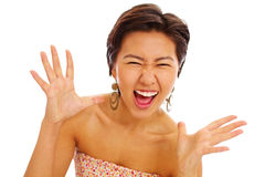 Menina asiática bonita surpreendida Foto de Stock Royalty Free