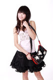 Menina asiática com bolsa Fotos de Stock