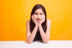 Menina asiática com emoção triste Fotos de Stock