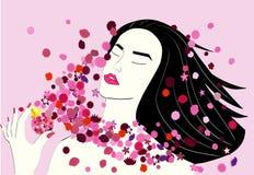Menina asiática com flores cor-de-rosa Fotos de Stock