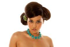 Menina asiática com hairdo e composição fotografia de stock