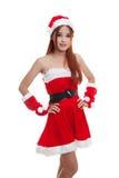 Menina asiática de Santa Claus do Natal imagem de stock
