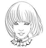 Menina asiática de sorriso ilustração do vetor