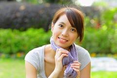 Menina asiática desportiva Fotografia de Stock Royalty Free