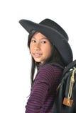 Menina asiática em um chapéu de vaqueiro foto de stock