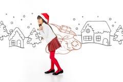 Menina asiática em uma paisagem do inverno Fotos de Stock
