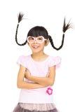Menina asiática engraçada do retrato com cabelo do pigtail Fotografia de Stock