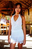 Menina asiática lindo no equipamento do verão Imagens de Stock