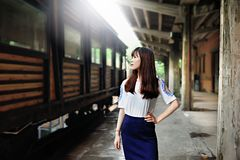 Menina asiática no distrito da arte Imagens de Stock Royalty Free