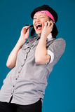 Menina asiática nova no telefone Fotografia de Stock Royalty Free