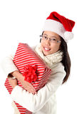 Menina asiática nova no tempo do Natal Foto de Stock Royalty Free