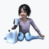 Menina asiática pequena que guarda o copo e o contatiner 5 Fotos de Stock