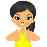 Menina asiática que mostra dois polegares acima Fotos de Stock Royalty Free