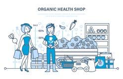 A menina atende à loja orgânica da saúde, caixa põe bens sobre a mostra ilustração do vetor