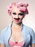 Menina atrativa com bigode Fotos de Stock Royalty Free