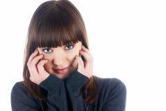 Menina atrativa com dor de cabeça fotografia de stock