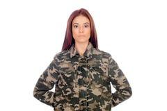 Menina atrativa com o revestimento militar do estilo Foto de Stock