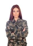 Menina atrativa com o revestimento militar do estilo Fotos de Stock Royalty Free