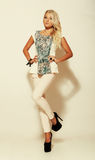 Menina atrativa da forma na calças foto de stock royalty free