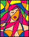 Menina atrativa do retrato dramático com cabelo violeta ilustração stock
