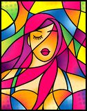 Menina atrativa do retrato dramático com denominação do cabelo violeta no estilo do vitral ilustração royalty free