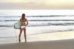 Menina atrativa do surfista com preparar-se da placa de uma ressaca da manhã Imagens de Stock