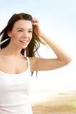 Menina atrativa na praia Imagens de Stock