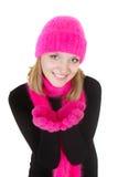 Menina atrativa no chapéu e no lenço brilhantes foto de stock royalty free