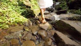 Menina atrativa no vestido branco que anda com os pés descalços à cachoeira pequena na selva tropical da floresta úmida Curso des vídeos de arquivo
